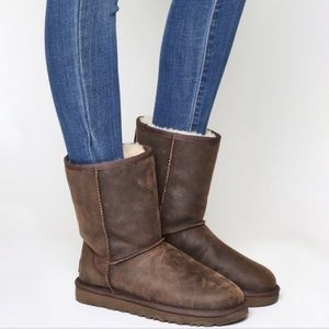Classic Short Leather Brownstone Boot